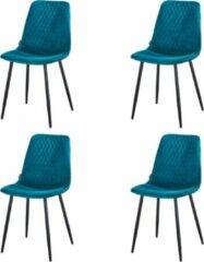 Kuipstoel - Turquoise Velvet eetkamerstoel - Fluweel stoel - Troon Collectie - Kuipstoel - Set van 4 - Velvet stoelen - Eetkamerstoelen - Eettafel stoelen