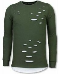 Groene Sweater Uniplay Longfit Sweater - Damaged Look Shirt