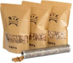 Rookplankje.nl Chips Assortiment met Tube Smoker | BBQ | Rookhout | Kadopakket