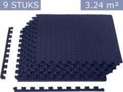 Blauwe Meisterhome ® geluidsdempende sport EVA puzzelmat set - Waterdichte fitness mat met mooie afgewerkte randen - Zachte yogamat – Easy installeren/schoonmaken - Fitnessruimte/meditatie - Warmte isolerend - 60 x 60 x 1,2 cm - 9 stuks 3.24 m²-Tardis blu