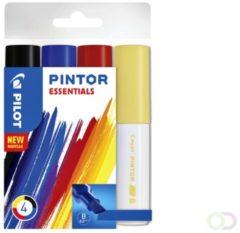 Pilot Pintor markeerstift 4 stuk(s) Zwart, Blauw, Rood, Geel Borstelpunt