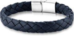 FRANK 1967 JEWELS Frank 1967 Audacious Leather 7FB 0292 Leren Gevlochten Armband met Staal Element - Lengte 21 cm - Blauw