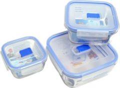 "Luminarc ""Pure Box"" Pure Box Vorratsdosen-Set, quadratisch, mit Active Deckel, 3-teilig (1 Set)"