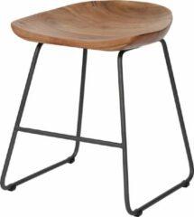 Duverger® Ergonomic - Krukken - set van 2 - houten zit - ergonomisch - massief acacia - naturel - zwart metalen frame