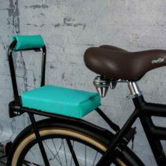 Turquoise Ohmiomine Complete Set : bagagedrager-kussen en rug-rolkussentje incl. voetsteuntjes en rugleuning