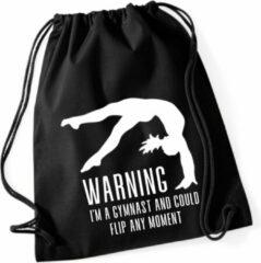Sparkle&Dream Leertjes/Lusjes Tasje 'Warning Gymnast' Zwart, voor turnen en gymnastiek