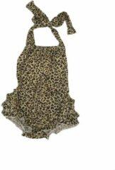 Bruine Babyzwempak - Dierenprint - 0-6 Maanden - Supercute - Panterprint - Kraamkado - Babyshower - Meisje - Babybadpak