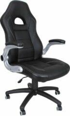 Zwarte Songmics Bureaustoel - In Hoogte Verstelbaar Racestoel - Inklapbare Armleuningen - OBG28B