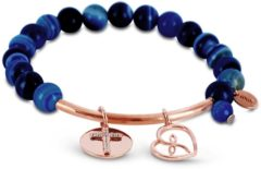 CO88 Collection 8CB-50008 - Rekarmband met natuurstenen, stalen bar en bedels - blauw agaat 8 mm - zirkonia kruis en open hart - one-size - multi blauw / rosékleurig