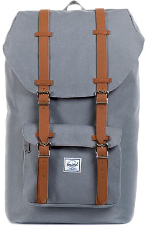 Afbeelding van Grijze Herschel Little America Rugzak Grey/Tan Synthetic Leather