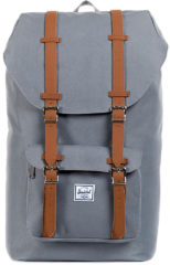 Grijze Herschel Little America Rugzak Grey/Tan Synthetic Leather