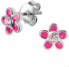 Roze Kasius TFT Oorknoppen Bloem En Zirkonia Zilver Gerhodineerd Glanzend 6.5 mm x 6.5 mm