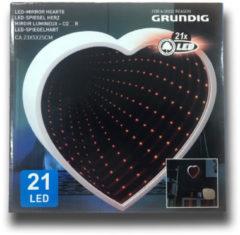 Rode Grundig Spiegel en lichtornament - hart - 21 LED's