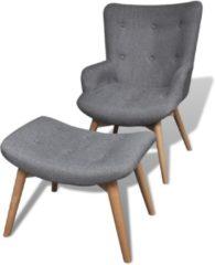 Grijze VidaXL Gestoffeerde stoel met voetenbankje (grijs)