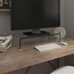 Witte VidaXL TV-meubel/monitorverhoger transparant 60x25x11 cm glas