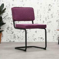 Vince Design Industriele Eetkamerstoel Rib Industrial Paars - Zwart Frame