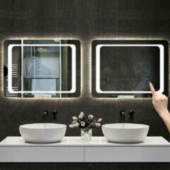Aica Sanitair LED rondhoekige badkamerspiegel 80x60cm,5mm wandspiegel,enkele touch sensor schakelaar,koud wit,anti-condens