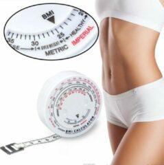 Merkloos / Sans marque Omvang Meetlint Met BMI Meter - Bereken Eenvoudig Uw Body Mass Index - Alternatief Voor Huidplooimeter / Vetmeter - Hulpmiddel Bij Afvallen - Wit
