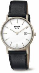 Boccia Titanium 3637.02 horloge Leer Zwa Heren