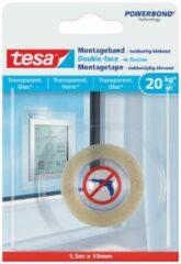 1x Tesa dubbelzijdig montagetape op rol transparant extra sterk 1,5 meter - Klusmateriaal - Huishoudartikelen - Tesa Powerbond - Montagetape - Extra sterk - Dubbelzijdig tape
