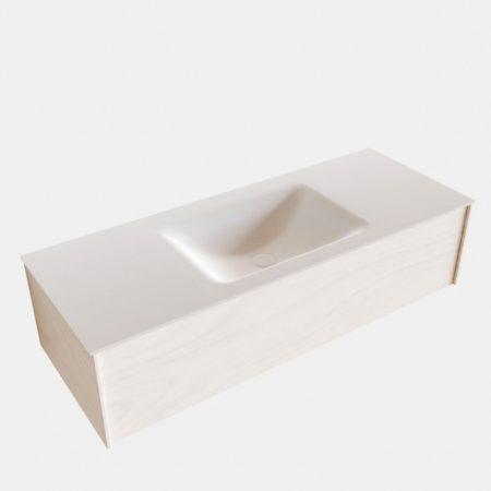 Afbeelding van Boss & Wessing Badkamermeubel BWS Madrid Wit 120x45x30 cm Mat Witte Solid Surface Wastafel (1 kraangat)