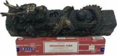 Bronze Peperbol Wierook houder Draak liggend + doosje Satya Dragon Fire wierook