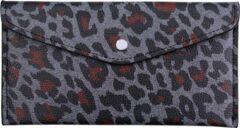 Yehwang Portemonnee, envelop, luipaard grijs/bruin