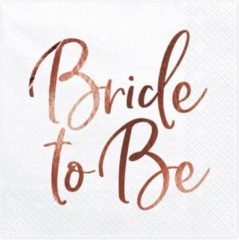 Roze PartyDeco Servetten wit met Bride to be in Rose Gold 20 stuks