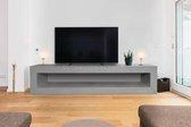 Afbeelding van Grijze Betonlook TV-Meubel open vak | Platinum Grey | 200x40x40 cm (LxBxH) | Betonlook Fabriek | Beton ciré