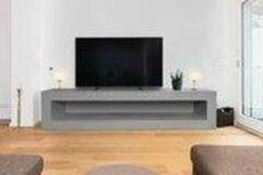 Grijze Betonlook TV-Meubel open vak | Platinum Grey | 200x40x40 cm (LxBxH) | Betonlook Fabriek | Beton ciré