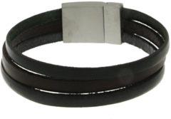 Blauwe Brace heren armband Leer met RVS BR229007