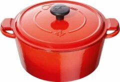 Fontignac Mains libres ronde cocotte/braadpan 20 cm - rood