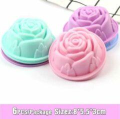 Diamondheart 6 stuks Siliconen Cupcake Vormen, Bloemen vorm Cupcake Bakvorm, Mini Cake Vorm