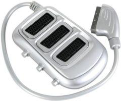 LegaMaster SCARTBOX - SCART-STEKKER NAAR 3 x VROUWELIJKE SCART-CONNECTOR / STANDAARD met 3 schakelaars