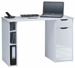 Bermeo Bureau Manus 115 cm breed in wit met hoogglans wit