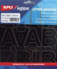 Zwarte Agipa etiketten cijfers en letters letterhoogte 47 mm, 261 letters