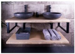 SaniGoods Massief eikenhouten badmeubel 180cm met natuurstenen waskommen