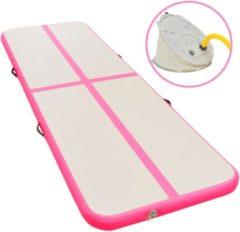 VidaXL Gymnastiekmat met pomp opblaasbaar 600x100x10 cm PVC roze