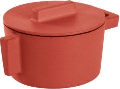 Rode Sambonet ronde braadpan gietijzer paprika, 10cm