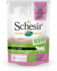 Schesir Kat Biologisch Adult - Varken - 16 x 85 g maaltijdzakjes