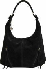 AmbraModa Italiaans handtas schoudertas hobo bag van echt suède WL822 Zwart