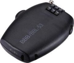 Zwarte BBB Cycling Fietsslot MiniCase Mini Codeslot Fiets - 1.6 mm x 67 cm BBL-53