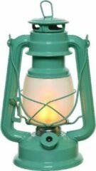 Lumineo Turquoise blauwe LED licht stormlantaarn 24 cm met vlam effect - Campinglamp/campinglicht - Vuur LED lamp