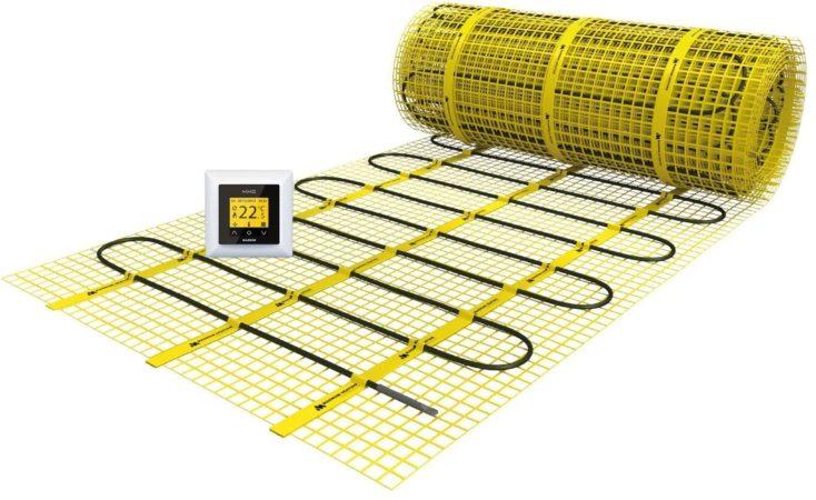 Afbeelding van Gele Magnum Millimat elektrische vloerverwarming 300 watt, 2,0 m2 met klokthermostaat 200405