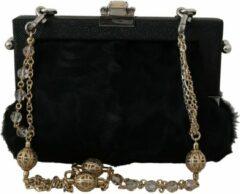 Zwarte Dolce & Gabbana Dolce & Gabbana Black Fur Brocade Crystal Shoulder VANDA Purse