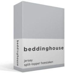 Beddinghouse jersey split-topper hoeslaken - 100% gebreide katoen - Lits-jumeaux (180x200/220 cm) - Grijs