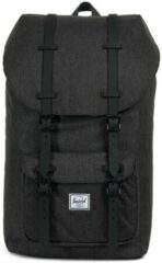Zwarte Herschel Supply Co. Little America Rugzak black crosshatch/black rubber backpack