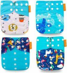 Kidzstore.eu Pocketluier set - blauw | 4 stuks inclusief inleggers + 1 rol inlegvellen | wasbare luiers | herbruikbare luiersals