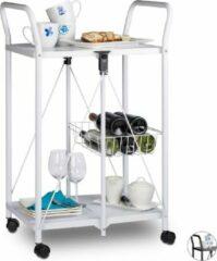 Relaxdays - serveerwagen opklapbaar - metalen keukenwagen - 2 etages - wieltjes wit