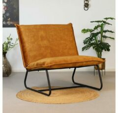Livin24 Velvet fauteuil Paris okergeel/cognac bruin